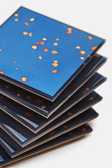 Boxed Set of Six Mirrored Coasters - Stardust Blue