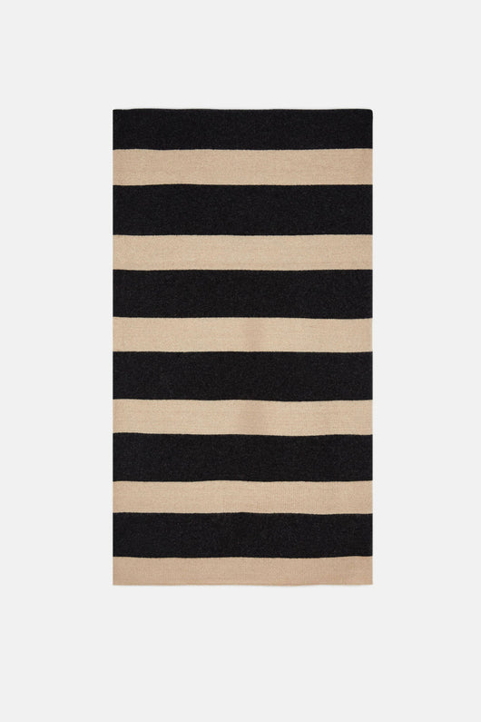 Melange/Solid Milano Stripe Throw - Dark Grey Melange/Cream