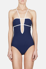 Harlow One Piece - Midnight w/White Piping
