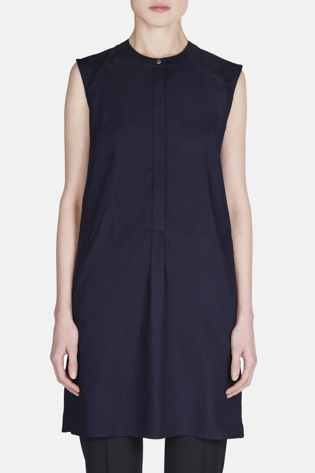 Sleeveless Shirt Dress - Navy