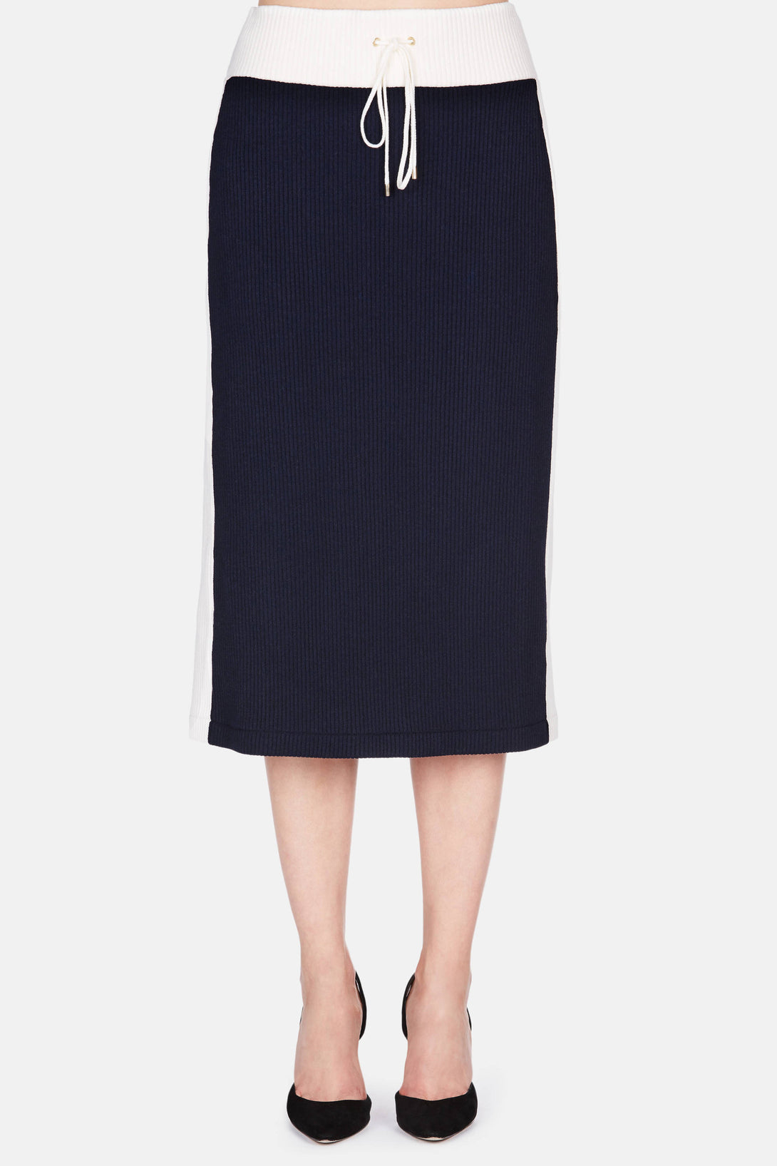Colorblocked Midi Skirt - Navy