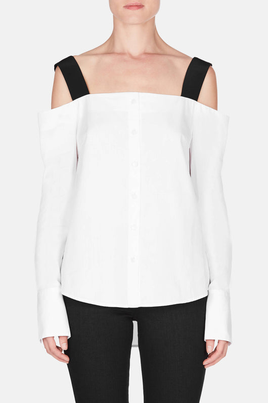 Cold Shoulder Shirt - White