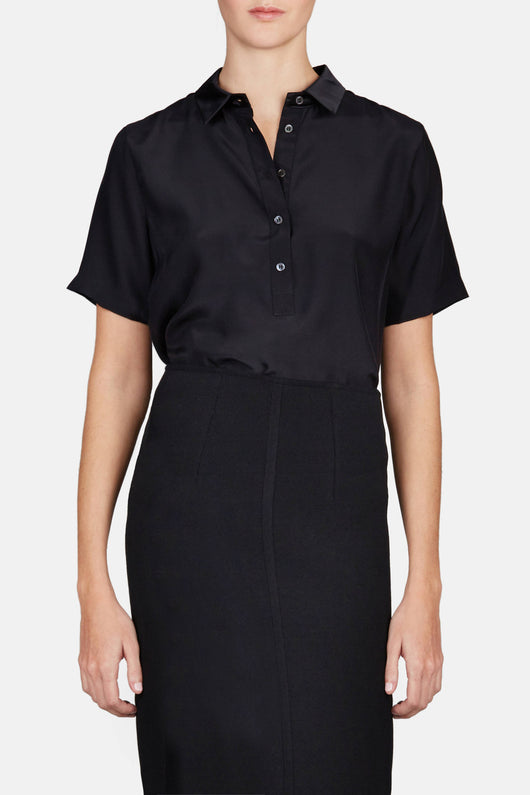 Silk Polo Pop Over - Black