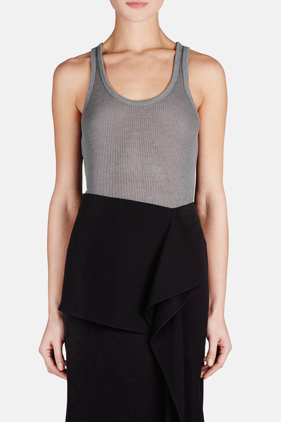 Thick and Thin Ribbed Tank - Smoke