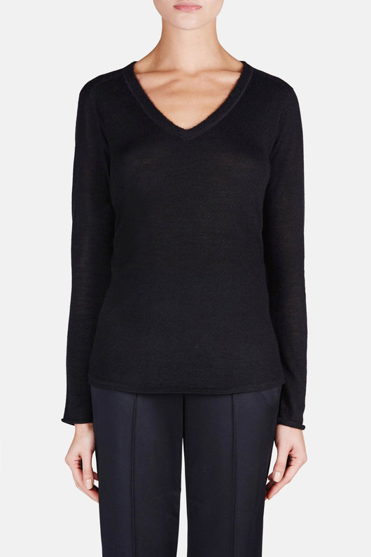 V Neck Raw Edge Sweater - Black