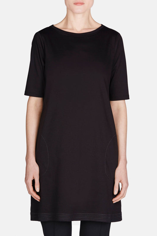 Mercerized Cotton 3/4 Sleeve Dress - Black