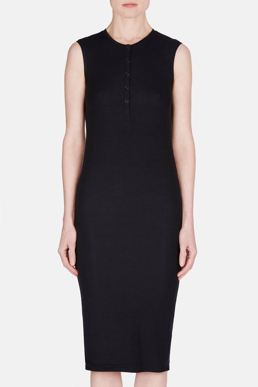 Sleeveless Henley Midi Dress - Black