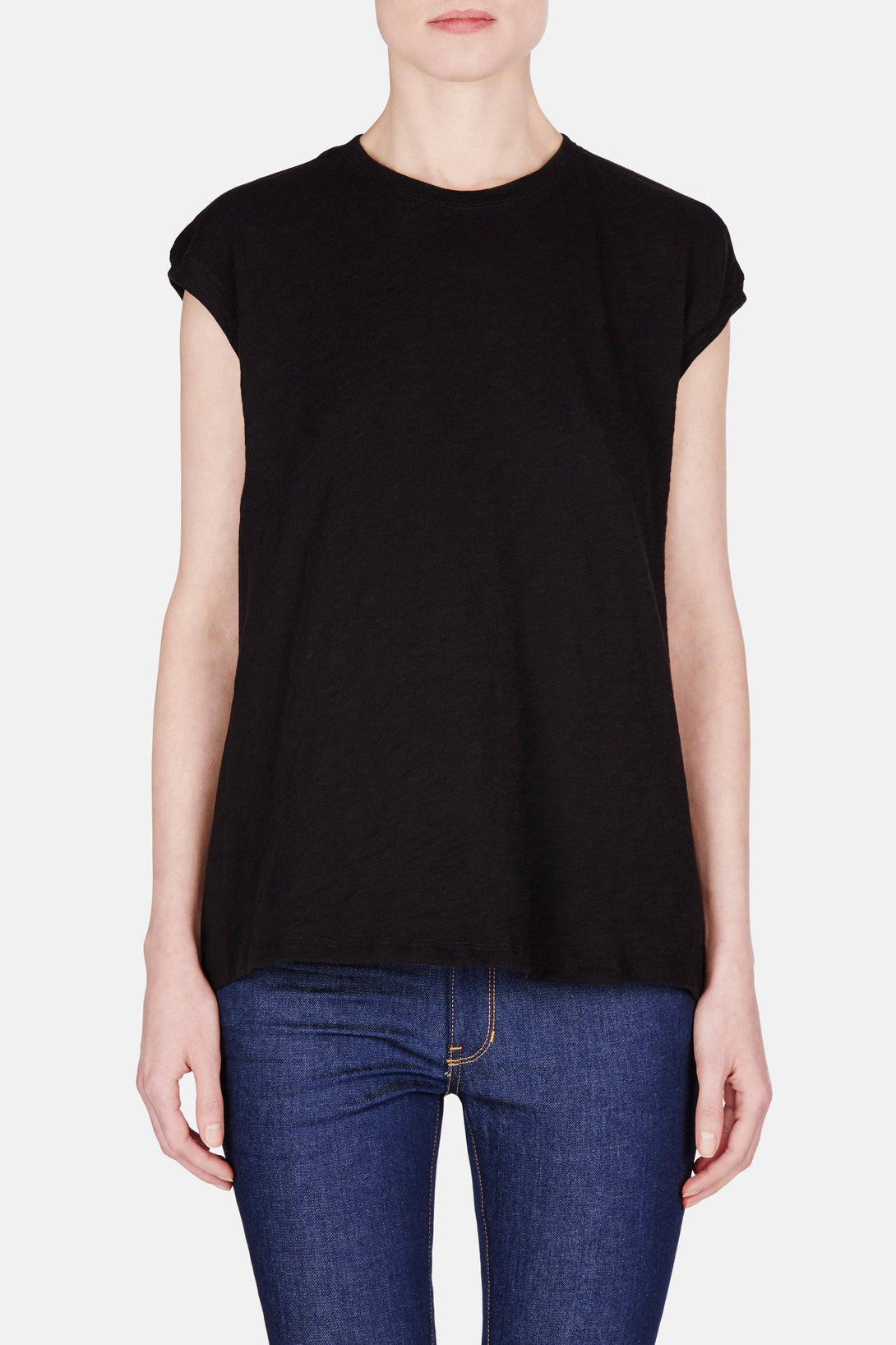 Mixed Media Extended Shoulder Top - Black