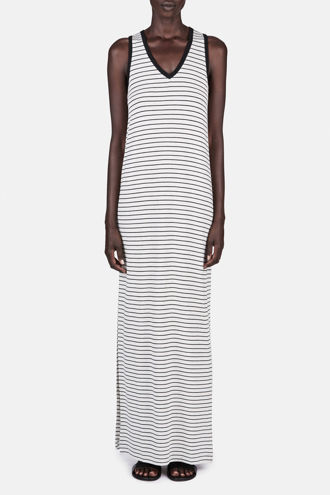 Striped Jersey V Neck Dress - Marble/Black Stripe