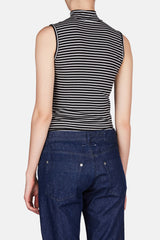 Striped Sleeveless Mock Neck - Black/White Stripe