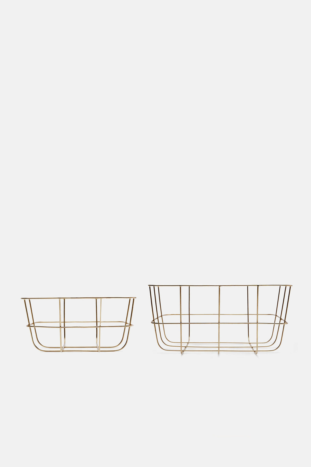 Set of Two Wire Baskets - Brass Finish