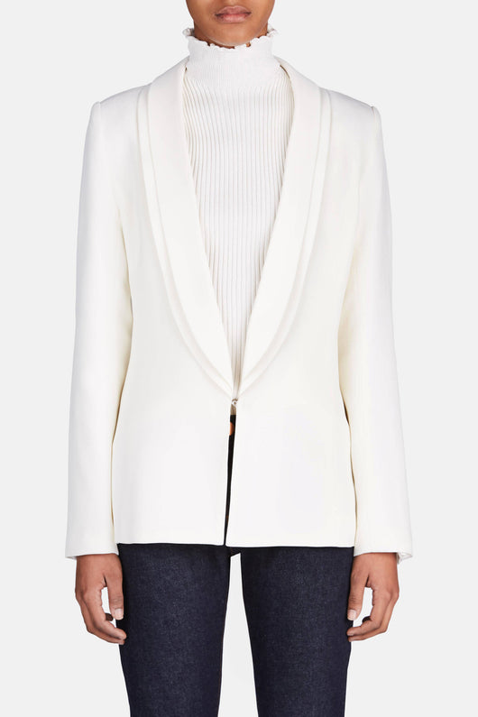 Jacket with Classic Lapel - White