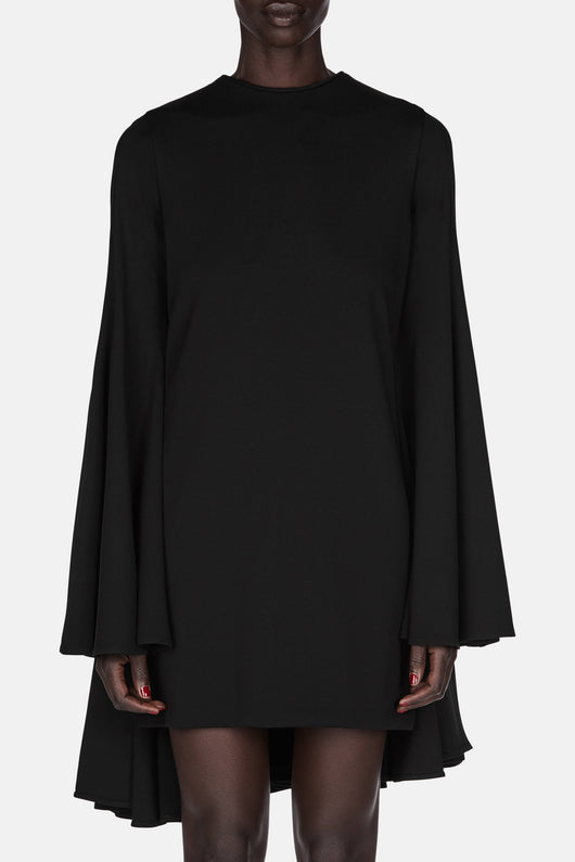 Longsleeve Mini Dress with Pleated Back - Black