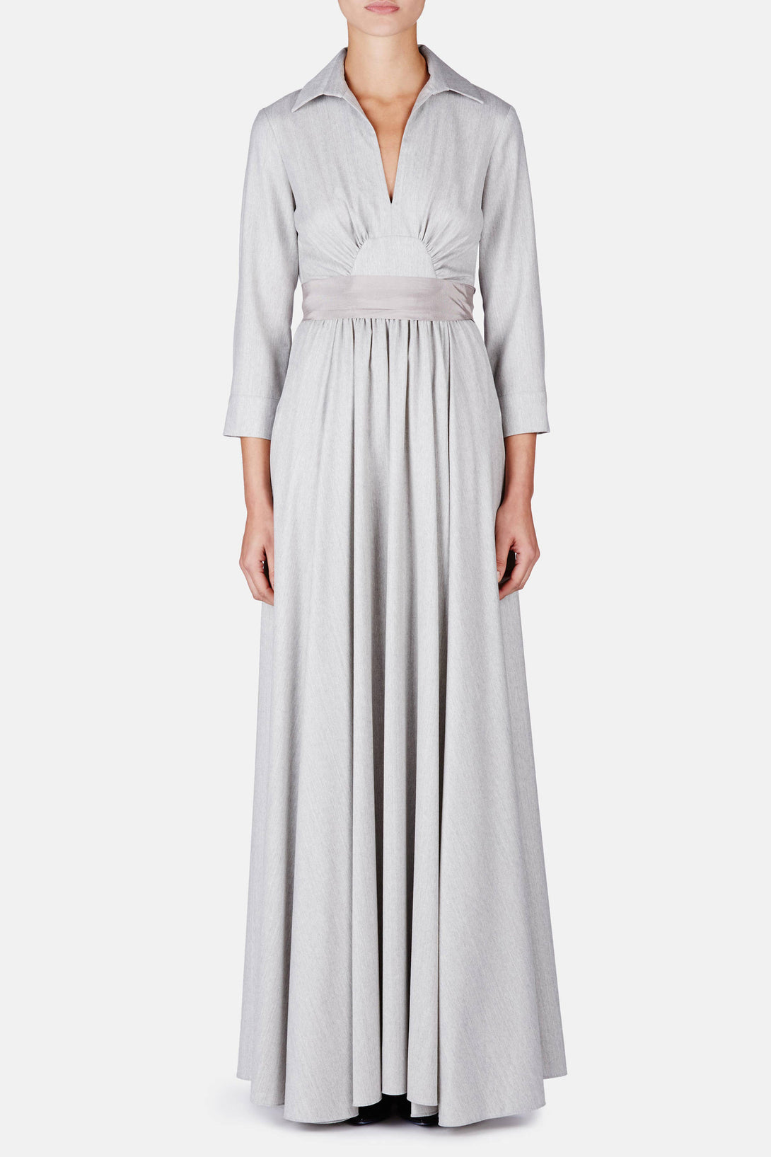 Cotton 3/4 Sleeve Tie Gown - Heather Grey