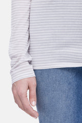 Baggy Turtleneck - White/Grey Stripe