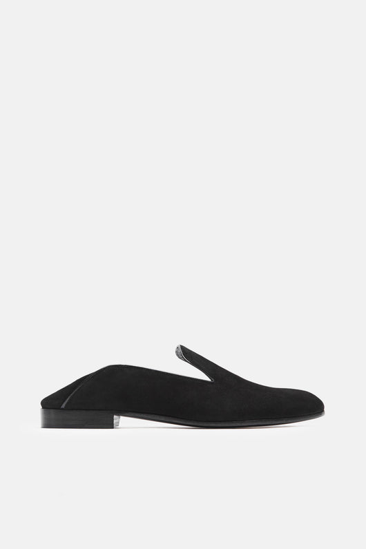 Garconne Step-Down Slipper - Camoscio Nero