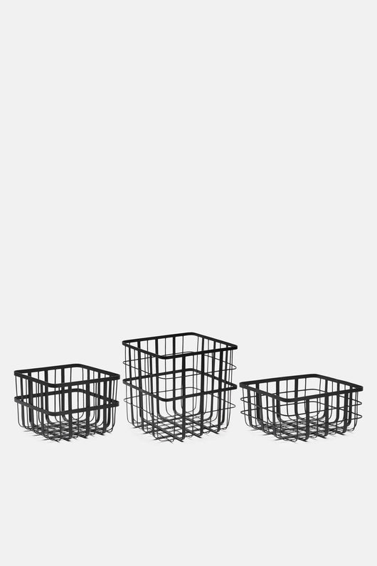 Black Powder Coated Iron Baskets - Set of 3