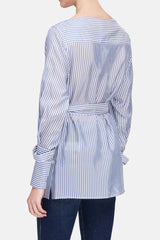 Belted Boatneck Shirt - Light Blue/White Stripe