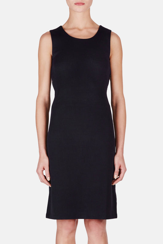 Compact Double Face Jersey Sanda Dress - Dark Navy