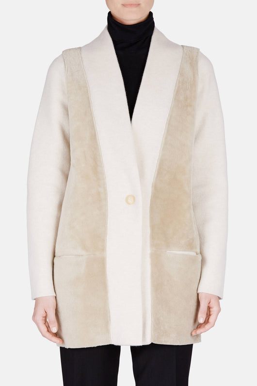 Felted Cashmere Blend and Shearling Jacket - Ecru