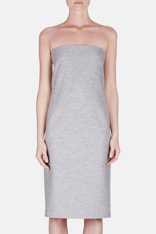 Chine Wool Jersey Strapless Dress - Ashen Melange