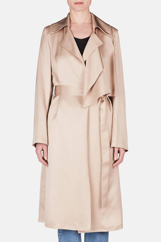 Silk Satin Trench - Beige