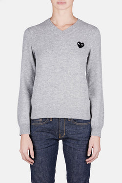 Black Play V-Neck Sweater - Light Grey