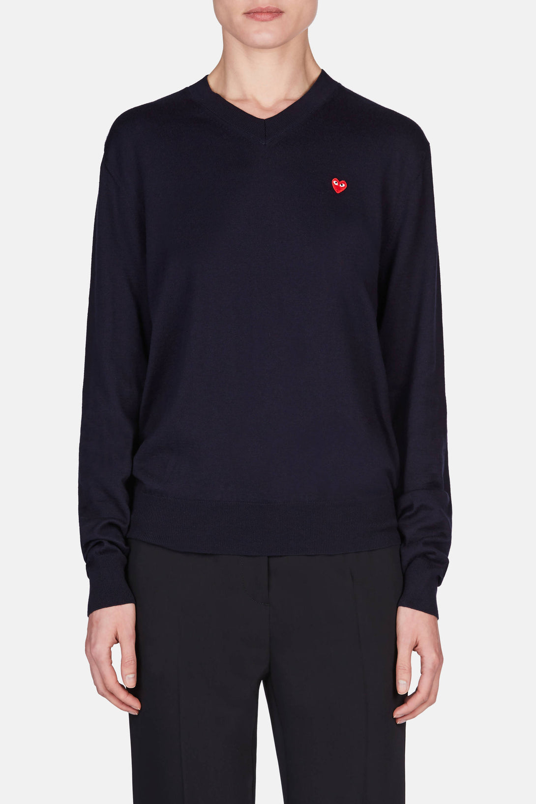 V-Neck Cotton Pullover Small Heart - Navy