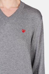 V-Neck Cotton Pullover Small Heart - Grey