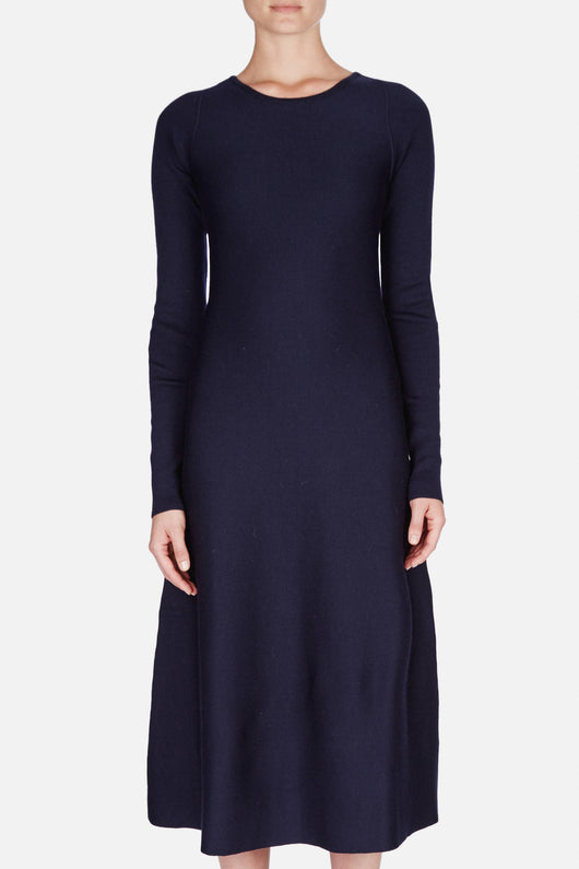 Knitted Flared Dress - Midnight Blue