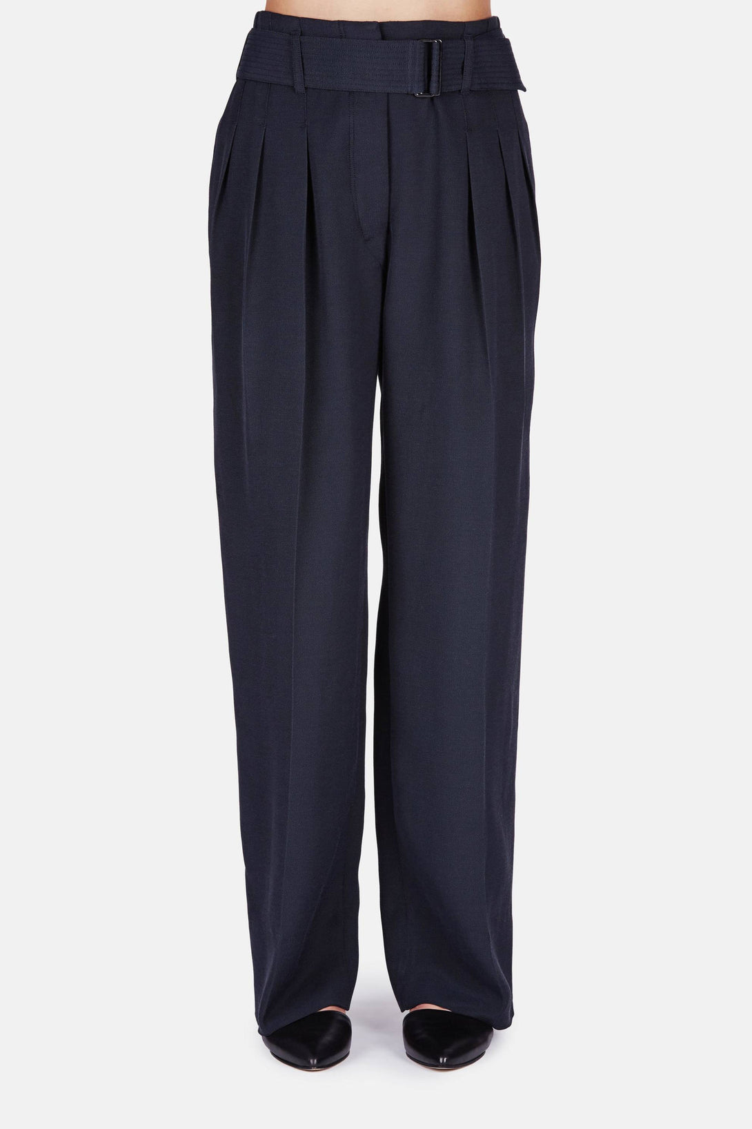 Three Pleated Pants - Midnight Blue