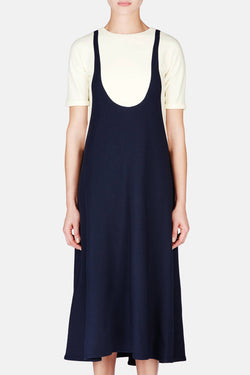 Flared Dress with Trompe L'Oeil - Midnight Blue