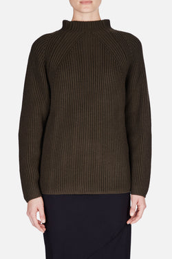 High Neck Rib Sweater - Olive