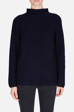 High Neck Rib Sweater - Midnight Blue