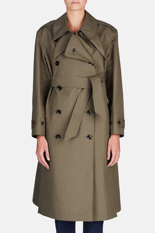 Trench Coat with Side Slits - Khaki Green