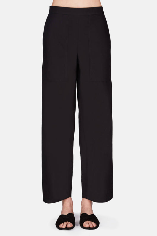 Elasticated Pants Cropped - Black