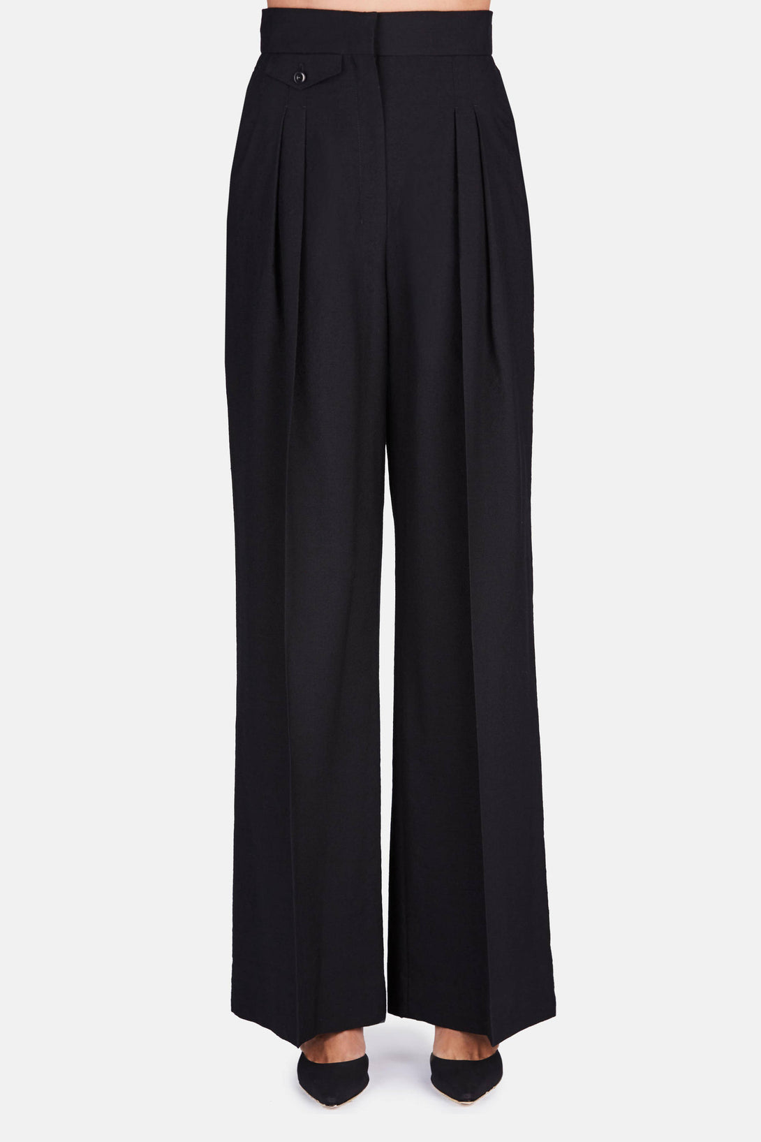 Two-Pleated Pants - Black
