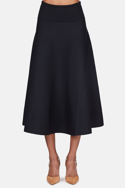 Knitted Flare Skirt - Midnight Blue