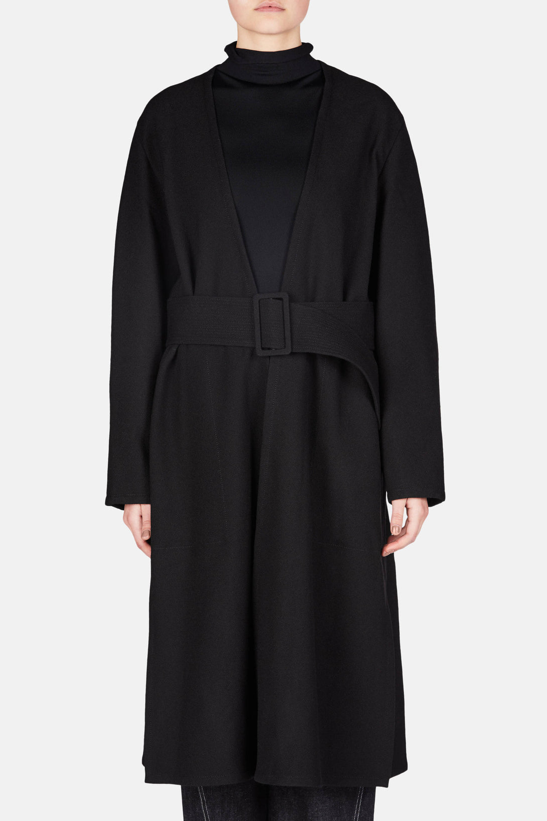 Wrapover Belted Coat - Black