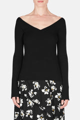 Off-Shoulder Second Skin V-Neck - Black