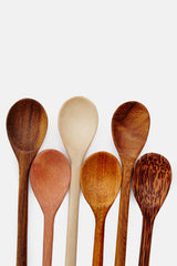 Set of Six Long-Handled Tasting Spoons - Assorted Woods