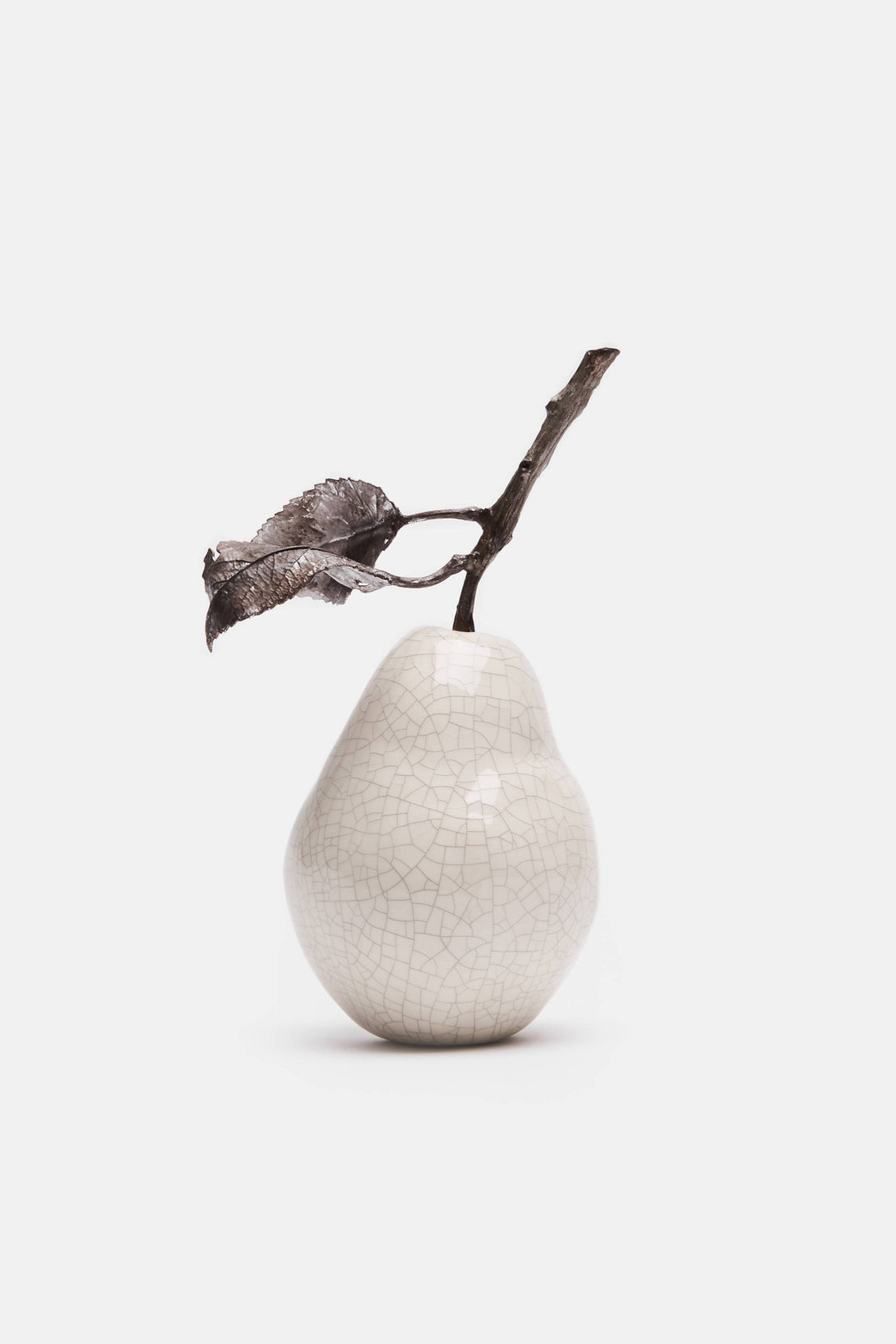 Pear with Twig and Two Leaves - Crackle Glaze