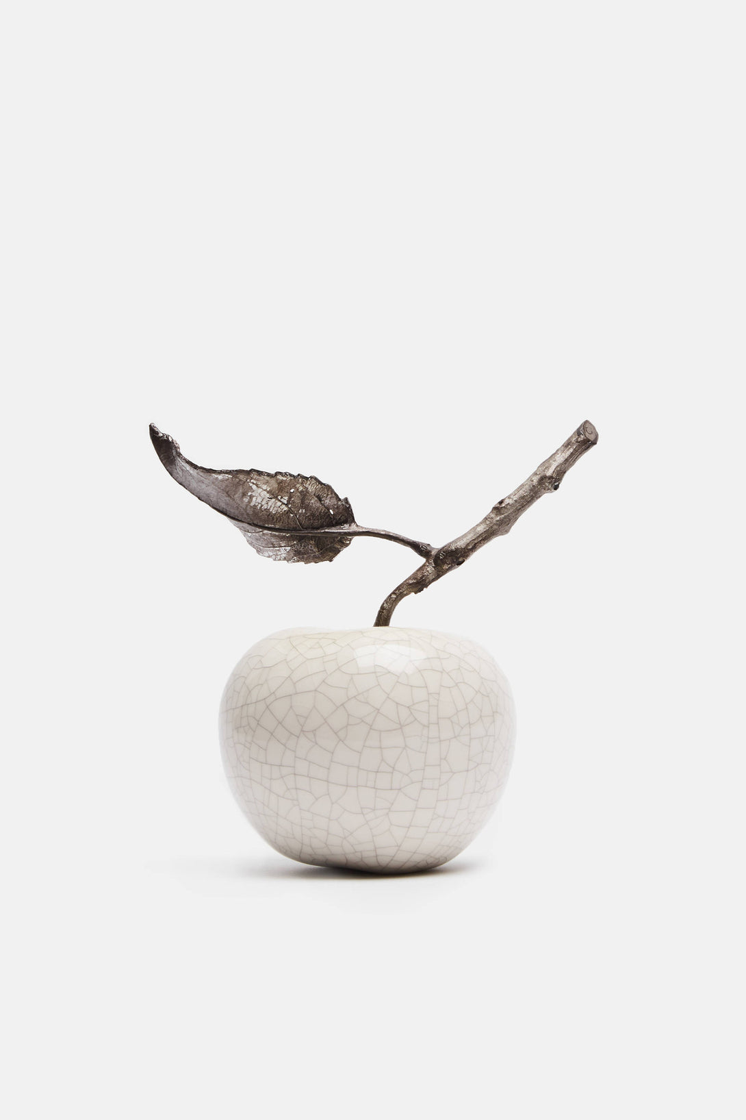 Apple with Twig and Leaf - Crackle Glaze