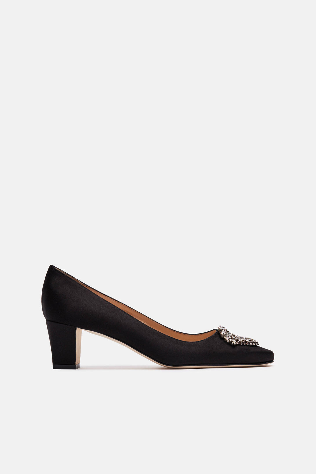 Okkato Jeweled Pump - Black Satin