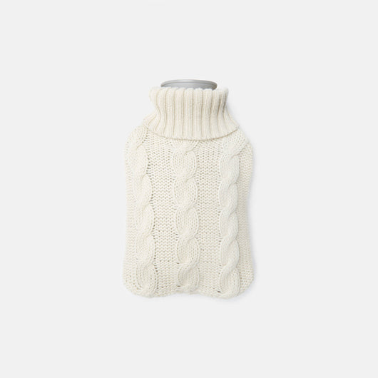 Hot Water Bottle with Cashmere Cover - Eggshell