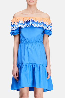 Embroidered Pallas Dress - Blue