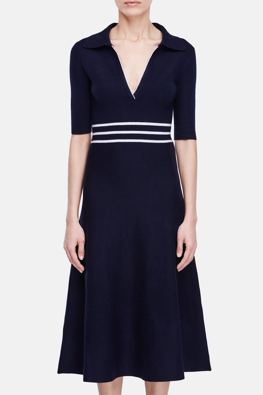 Dorothea Polo Dress - Navy w/Ivory