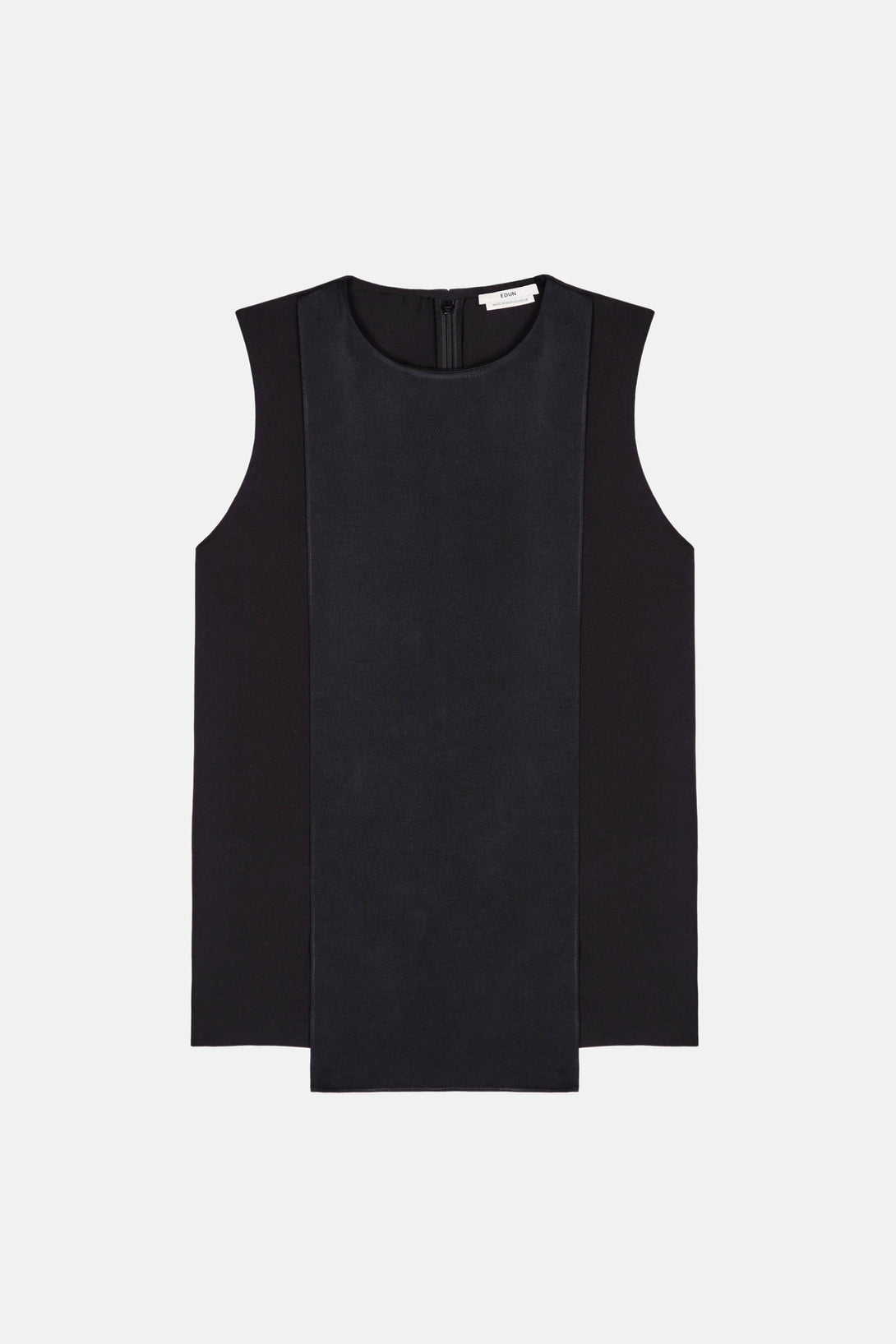 Sable Crepe Sleeveless Drape Top - Black