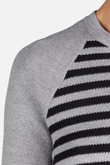 Pique Combo Raglan Sweater - Heather Grey