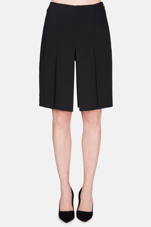 Satin Crepe High Waisted Shorts - Black